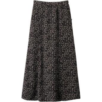 SALE 【60%OFF】 ROSE BUD ローズバッド フラワープリントフレアスカート ブラック
