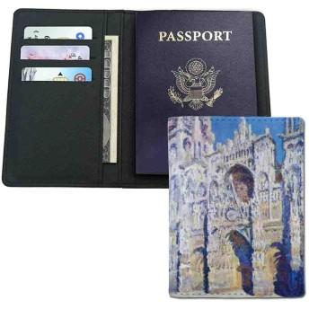 旅行財布 -家族や友人への贈り物-クロード・モネ・ルーアン大聖堂の完全な日光 -パスポート用カバー 高級PUレザー製 多機能収納ポケット付き 海外旅行用 14.7x10cm