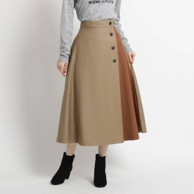 デッサン Dessin 【SサイズーLサイズあり、洗える、ウエスト後ろゴム】ツイル配色ボタンスカート (サンドベージュ)