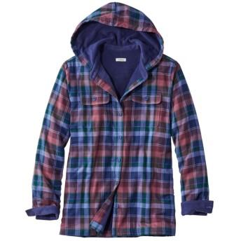 フリース・ラインド・フランネル・シャツ、プラッド フード付き/Fleece-Lined Flannel Plaid Hoodie