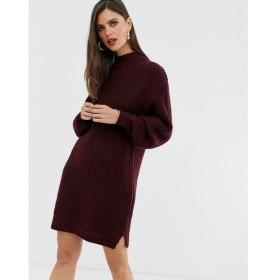 エイソス ASOS DESIGN レディース ワンピース ミニ丈 ワンピース・ドレス knitted rib mini dress with chunky crew neck ダークレッド