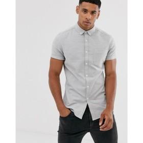 エイソス ASOS DESIGN メンズ シャツ トップス skinny oxford shirt in grey グレー