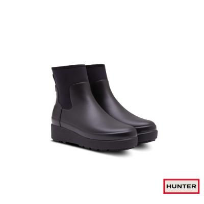 HUNTER - 女鞋 - Refined Creeper平底切爾西踝靴 - 黑