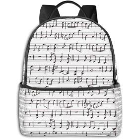 カジュアルバックパックファッションバックパック大容量学校レジャー旅行アウトドアビジネスワークコンフォートユニセックス 音楽音符シート