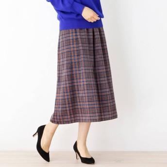 スープ SOUP サテンチェックギャザースカート (ブルー)