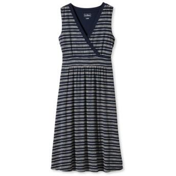 サマー・ニット・ドレス、スリーブレス ペブル・ストライプ・プリント/Women's Summer Knit Dress, Sleeveless Pebbles Stripe Print
