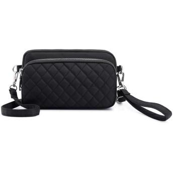 Winwinfly 女性用ナイロンクロスボディバッグ調整可能なダイヤモンドパターンショルダーバッグ,黒
