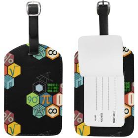 荷物タグ ラゲージタグ スーツケース 高級PUレザー 名札 数学 ネームタグ 旅行用 1枚入 [並行輸入品]