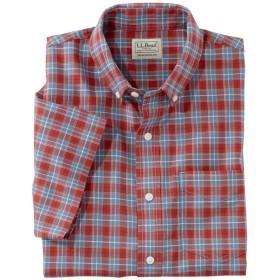 イージーケア・シャンブレー・シャツ、トラディショナル・フィット 半袖 プラッド/Easy-Care Chambray Shirt, Traditional Fit Short-Sleeve Plaid