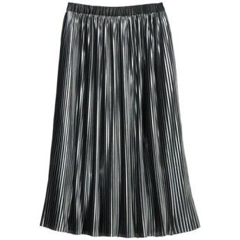 50%OFF【レディース】 光沢プリーツスカート - セシール ■カラー:ブラック系 ■サイズ:3L,LL,L,M,S
