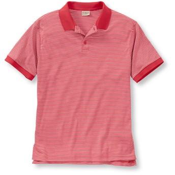 ピマ・コットン・ポロシャツ、袖口にリブ編み付き 半袖 ストライプ/Pima Cotton Polo Shirt, Banded Short-Sleeve Stripe