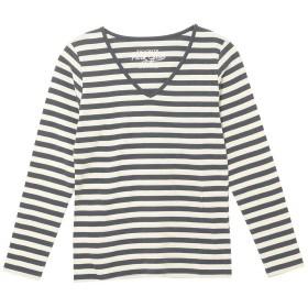 (パークガール)PARK GIRL コットン100%フライス素材ボーダーVネック長袖Tシャツ レディース 大きいサイズ M/L/LL 562840000b (M, チャコール×オフホワイト(均等))
