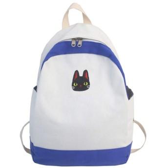 Moecat リュック キャンバス バックパック 大容量 防水 通学 通勤 かわいい 猫柄 レディース メンズ (ホワイト+ブルー)