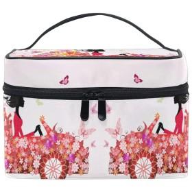 フラワーガール化粧品袋オーガナイザージッパー化粧バッグポーチトイレタリーケースガールレディース
