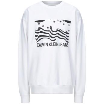 《セール開催中》CALVIN KLEIN JEANS メンズ スウェットシャツ ホワイト S コットン 100%