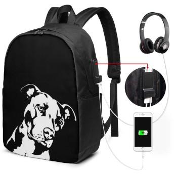 リュック 大容量 多機能 黒と白の犬 バックパック 男女兼用 リュックサック ファッション Pc USB充電ポートビジネスリュック お出かけ/通勤/お出産祝い/旅行/花見/通勤/旅行