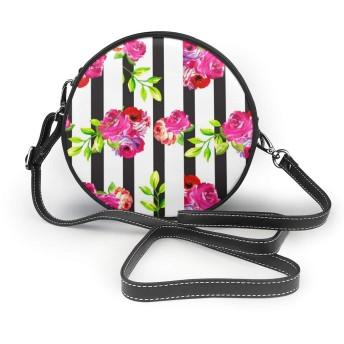 花の縦縞 ショルダーバッグ レディース レザー 多機能収納 コスメ ポーチ 軽量 撥水 シンプル かわいい ミニラウンドバッグ