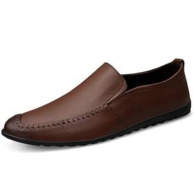 [SDFNJK] ローファー メンズ レザー カジュアルシューズ ヴァンプ ドライビング 2色 純色 学生靴 通勤 通学 キングサイズ 撥水加工 軽量 防滑 防臭靴 スリッポンドライビングシューズ モカシン 靴 運転靴紳士靴