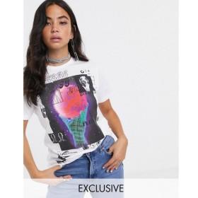 ニューガールオーダー New Girl Order レディース Tシャツ トップス oversized t-shirt in organic cotton with futuristic print ホワイト