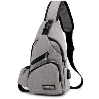 ショルダーバッグ [グレー] 【斜めがけ 大容量 軽量 ペットボトル収納 USBポート付き】 防水 ナイロン カジュアル コンパクト ボディバッグ