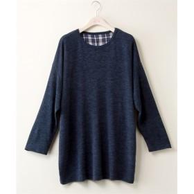 布帛切替ミルプルオーバー【bi abbey】 (大きいサイズレディース)T-shirts, T恤, plus size
