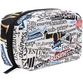 FengJu 化粧ポーチ 大容量 可愛い メイクポーチ コンパクト 機能的 おしゃれ 持ち運び コスメ収納 仕切り ミニポーチ バニティーケース 洗面道具 携帯用 英文 アメリカ風