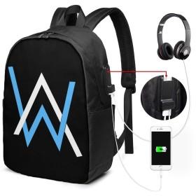 ホワイトとブルー アランウォーカー ロゴ Alan Walker リュックサック リュック バック リュックサック USB 充電ポート ヘッドフォンポート メンズ レディース ビジネスリュック おしゃれ お出かけ 旅行 出張 通学 通勤 大容量 丈夫 プレゼント