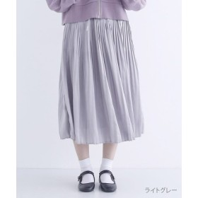 (merlot/メルロー)ミモレ丈サテンプリーツスカート/レディース ライトグレー
