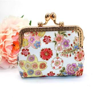 女性のためのバッグヴィンテージの女性の印刷花刺繍スナックコインケース財布バッグガールズ変更ポーチキーホルダーデザイン小型ハンドバッグ、白