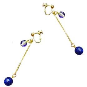 [エクロール]選べるカラー 揺れるネジバネ式イヤリング ロングイヤリング ピーコック 長い 細ゴールドチェーン レディース 宇宙 孔雀 1 BLUE & BLUE [gold]