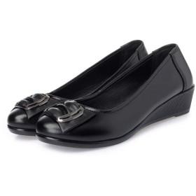 [Kg8d] レディース フラット パンプス 牛革 ラウンドトゥ ぺたんこ ローヒール 歩きやすい 痛くない 23.0cm ウォーキング シューズ 婦人靴 おおきいサイズ おしゃれ 軽量 スリッポン 黒 走れる ローファー モカシン