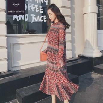 【 L ~ 4XL 】 大きいサイズ レディース ファッション 春 秋 花柄 長袖 ロング ドレス 体型カバー 3XL 2XL 70647