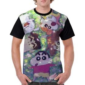 WLHSIN Halloween 吸汗速乾 デイリー レジャー 運動する メンズ クレヨンしんちゃん Crayon Shin Chan シャツ 半袖 Tシャツ 上着 ブラック 丸首 M