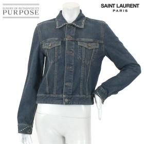 サンローランパリ SAINT LAURENT PARIS デニム ジャケット アウター コットン スタッズ ブルー サイズ L 2014年 レディース