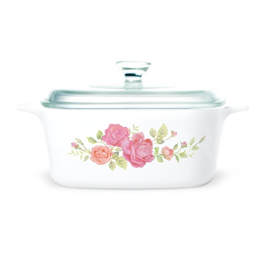 【康寧餐廚】薔薇之戀1.5L方形康寧鍋 贈微笑三色堇450ml中式碗2入組 領券再折 
