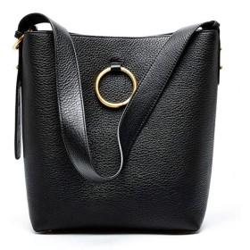 レザーショルダーバッグ大容量の女性の革のハンドバッグのブロードバンドShuitong第一層,黒