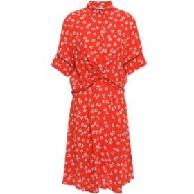 ガニー GANNI レディース ワンピース ワンピース・ドレス silvery twist-front floral-print crepe dress Tomato red