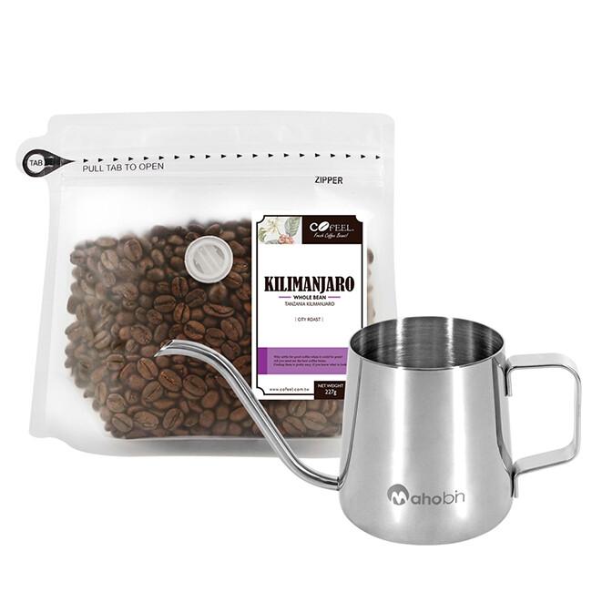 cofeel 凱飛鮮烘豆坦尚尼亞吉利馬札羅中深烘焙咖啡豆半磅+魔法瓶咖啡手沖細嘴壺