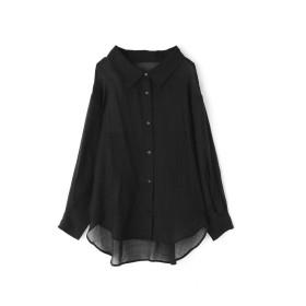 【公式/フリーズマート】【追加生産予約12月中旬-下旬入荷予定】シアービッグシャツ/女性/ブラウス/ブラック/サイズ:FR/再生繊維 (セルロース) 75% ナイロン 25%