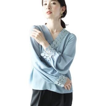 [フレンチパヴェ] 刺繍 アシンメトリー スキッパー シンプル 長袖 シャツ ブラウス レディース (S-L)