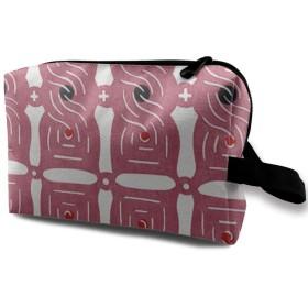幾何の図案 赤い花 化粧ポーチ トイレタリーバッグ トラベルポーチ 洗面用具入れ フルメイクセットバッグ 大容量 化粧品収納 出張 海外 旅行グッズ 育児グッズ レディース インナーバッグ