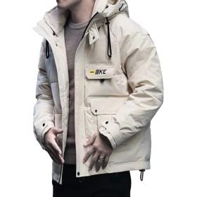 メンズフード付きダウンジャケット、暖かく防風性のある厚い冬用ジャケット(色:黒、青、白)