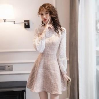 モコモコワンピース ツイード ミニ丈 ショート 可愛い 長袖 袖あり 20代 30代 Aライン 袖付き 着痩せ 大人 可愛い 海外 フェミニン きち