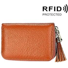 TYUKO 財布 メンズ カードバッグ女性のためのタッセルペンダント&15個のカードスロット付きケースコインケースを守るブロック本物の牛革レザーソリッドカラージッパーカードホルダーウォレットRFID (SKU : Ccb1095z)