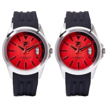FILA フィラ ペアウォッチ 同じサイズ 2本 男女兼用 赤いとけい 黒 レッド ブラック 誕生日プレゼント 38-126-00238-126-002 あすつく 腕時計