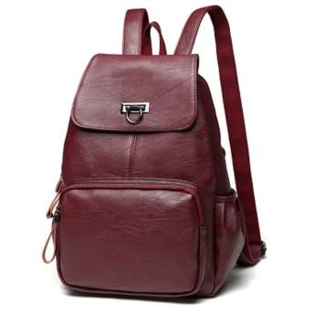 女性のバックパック、カジュアルレザーの女性のバッグ、ファッションのポータブル女性、学生のバックパックの旅行、サイズ:長さ26.0センチメー