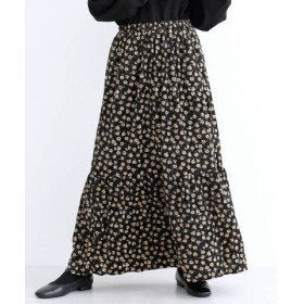 (merlot/メルロー)ベロア花柄プリントスカート/レディース ブラック