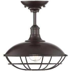 貿易風照明tw60048orb IndustrialレトロバーンメタルフードとケージClose to天井semi-flushマウントライト、in Oil Rubbed Bronze