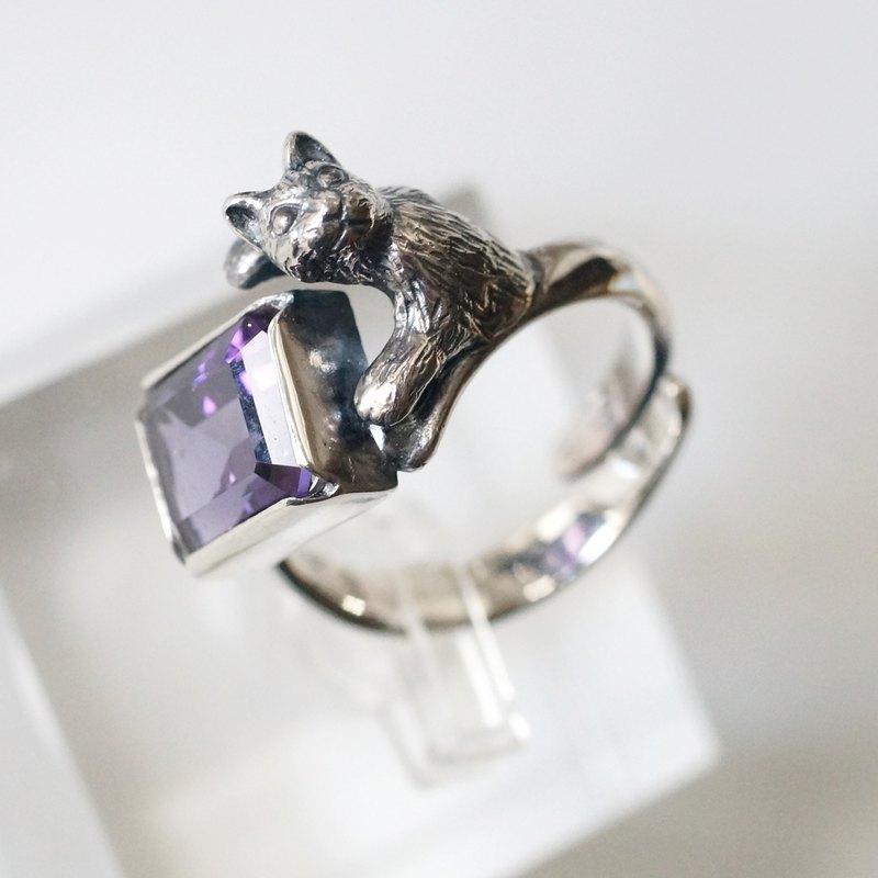 Furimuki貓戒指紫水晶