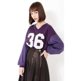 (ROSE BUD/ローズバッド)フットボールシャツ/レディース パープル1